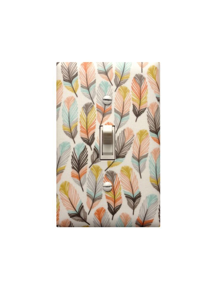 Tribal Feather Light Switch Plate Cover / Baby Girl Nursery Decor / Bedroom Bathroom Hallway Office Bathroom / Peach Aqua Mint Gray by SSKDesigns on Etsy https://www.etsy.com/listing/247737665/tribal-feather-light-switch-plate-cover