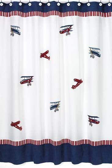 Vintage Aviator Kids Bathroom Fabric Bath Shower Curtain Airplane Decor Vintage Shower Curtains Cotton Shower Curtain Shower Curtain