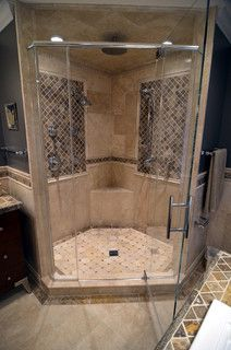 Stone Walk In Shower Mediterranean Bathroom Milwaukee By