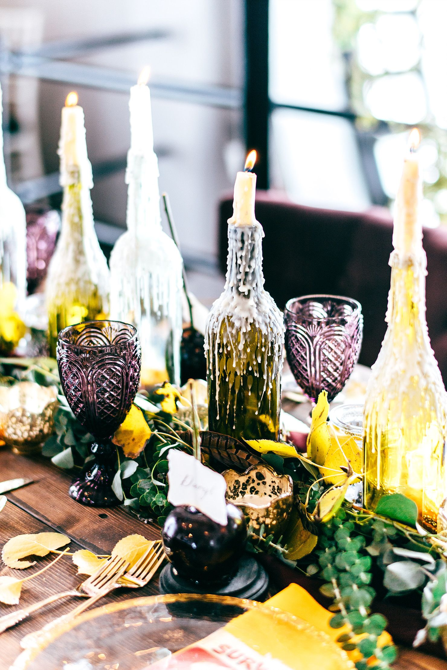 Fall Wedding Tablescape // Wine Bottle DIY // Candle