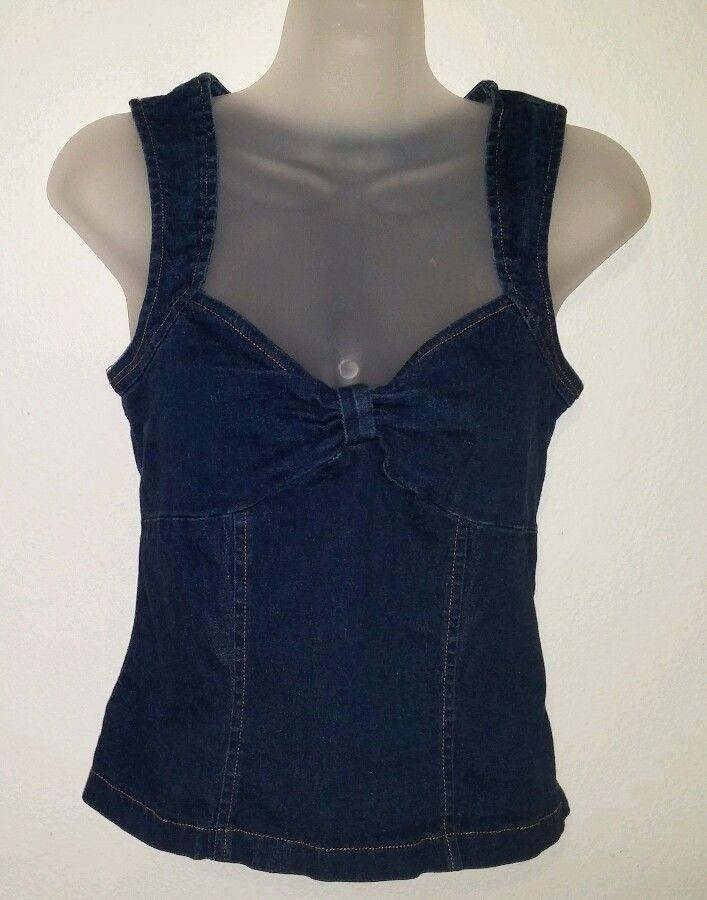 bfcd98415f2b40 A-List By Wrapper Womens Sz M Medium Jean Tank Top Sleeve-Less Shirt Zip  Back  Wrapper  TankCami  Casual