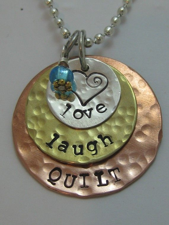 Love  Laugh  Quilt  MIXED METAL NECKLACE by 1StitchOff on Etsy