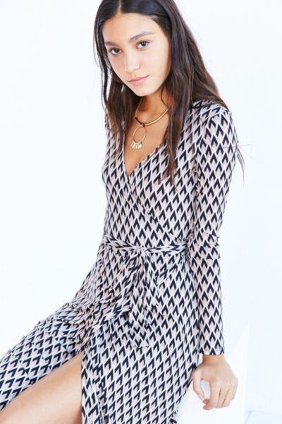 Ecote Long Sleeve Midi Wrap Dress - Urban Outfitters