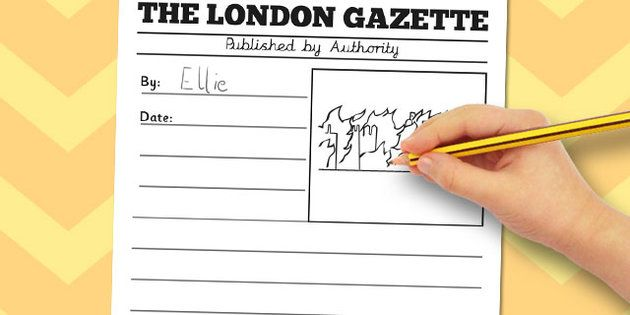 the great fire of london newspaper writing template