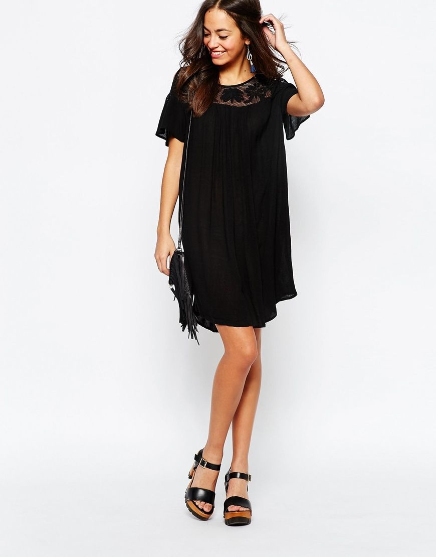 Image of new look cold shoulder embroidered dress mirror mirror