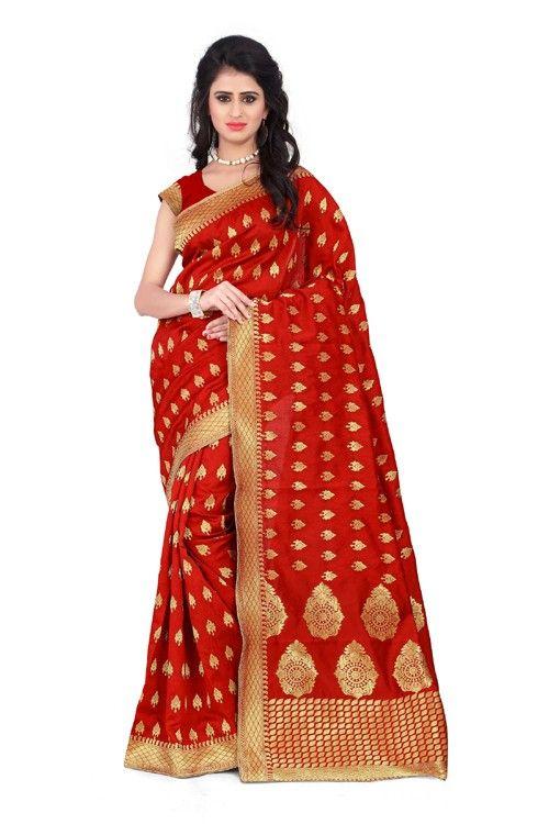 Details about  /Bollywood Sari Saree /& Blouse Traditional Red Woven Banarasi Art Silk V76