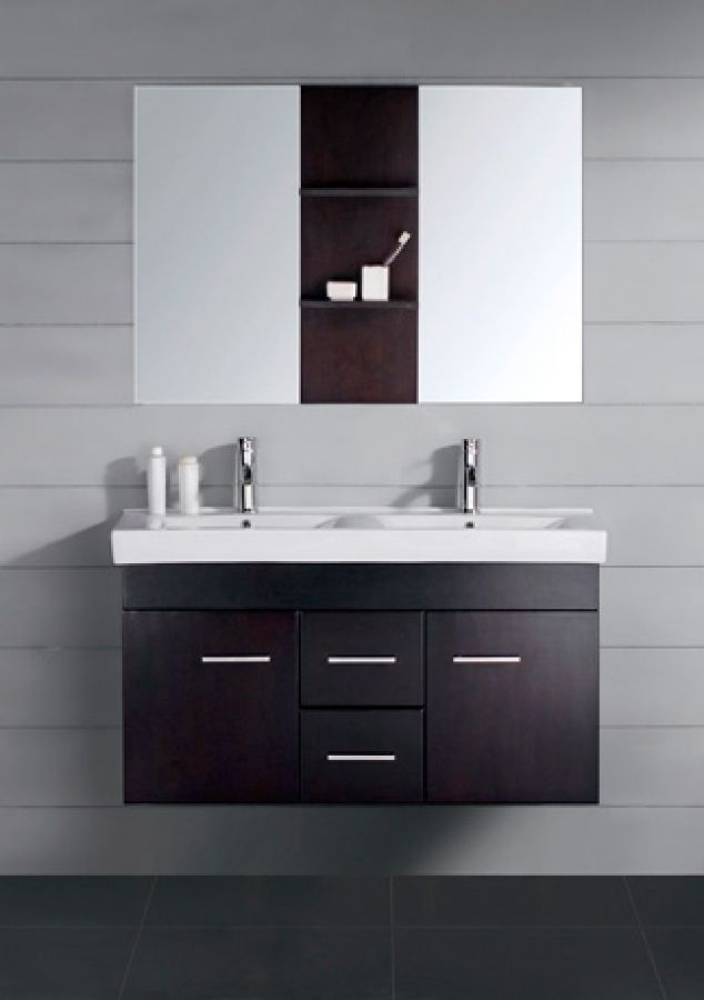 47 Inch Modern Double Sink Bathroom Vanity Espresso With Mirror Mesmerizing Double Sink For Small Bathroom Design Ideas
