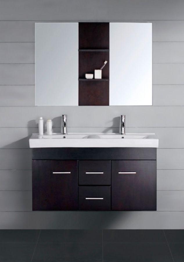 Inch Modern Double Sink Bathroom Vanity Espresso With Mirror - 47 bathroom vanity sink cabinet