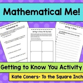 Math of Me | Math, Get to know you activities, Icebreaker ...