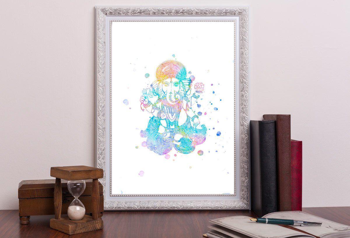 Printable ganesh watercolor wall art ganesh art meditation theme