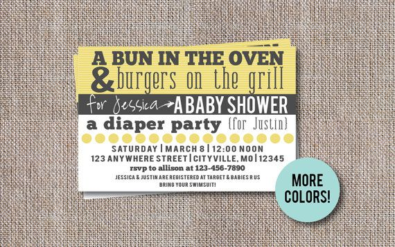 Couples baby shower invitation co ed baby shower invite diaper couples baby shower invitation co ed baby shower invite diaper party bun in the oven bbq baby shower filmwisefo Gallery