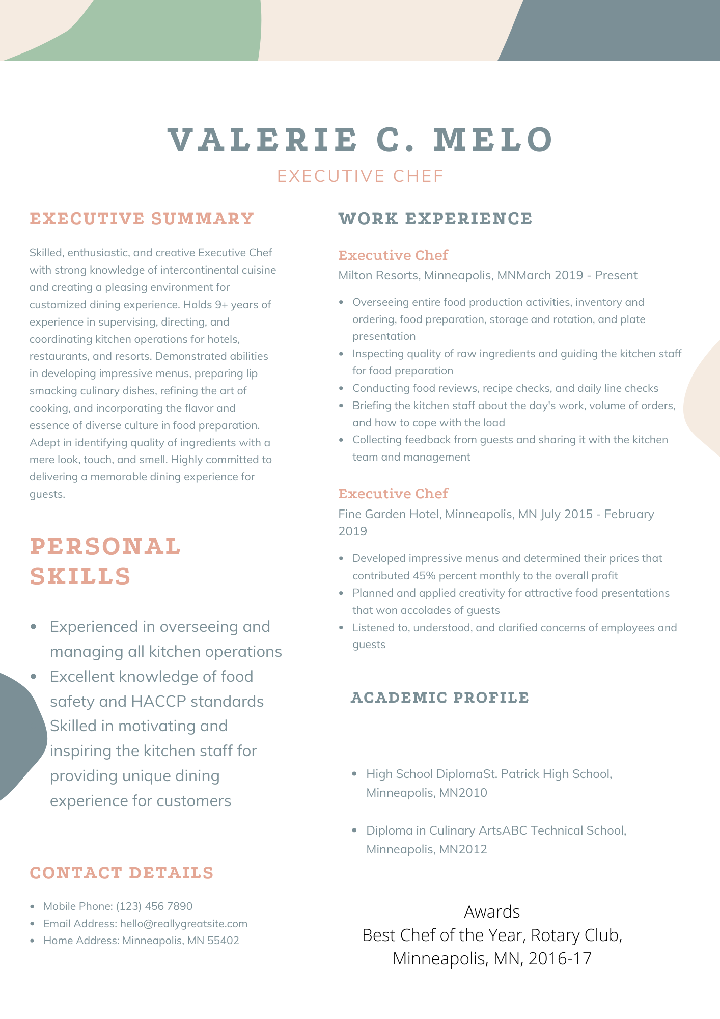 Executive Chef Resume Sample in 2020 | Chef resume ...
