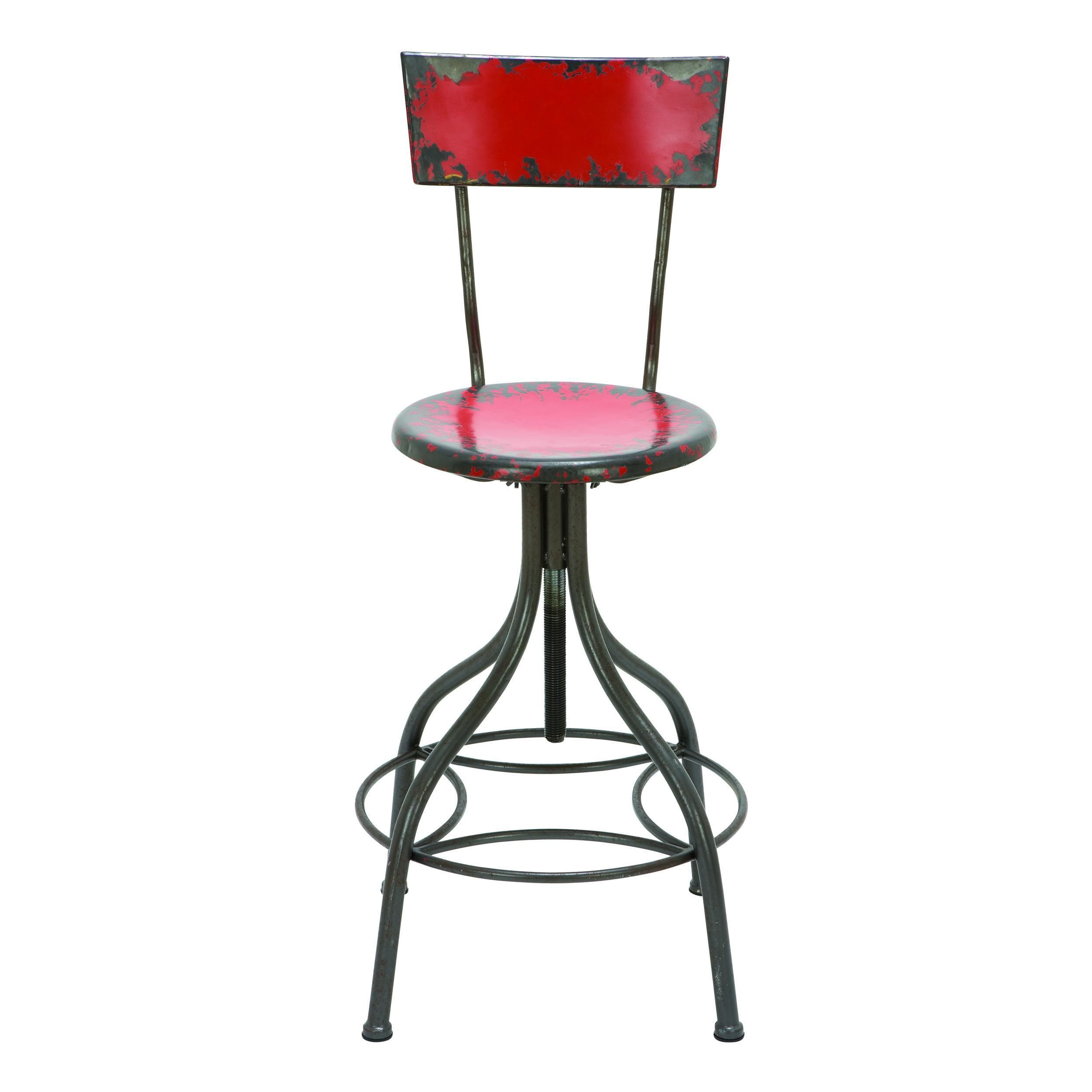 Rustic 41 Inch Distressed Red Adjustable Iron Bar Chair By