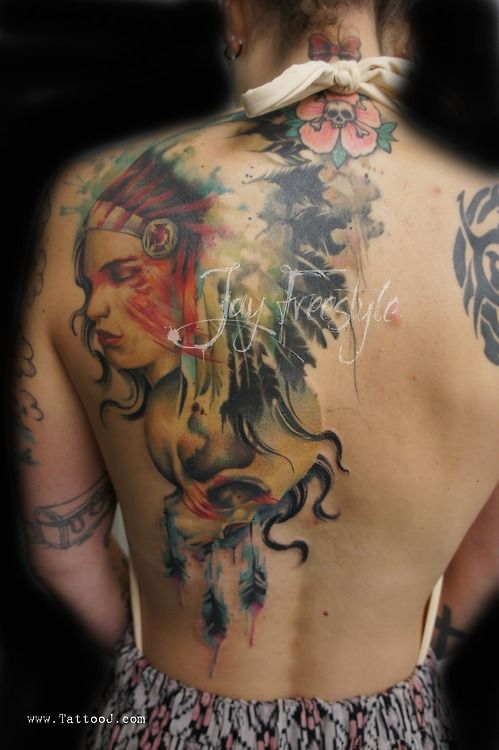 b7c9664da8a7a Red Indian tattoo on back. Freestyle tattoo by Jay Freestyle ...
