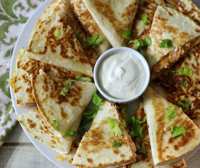Buffalo Chicken Quesadillas | Peanut Butter and Peppers