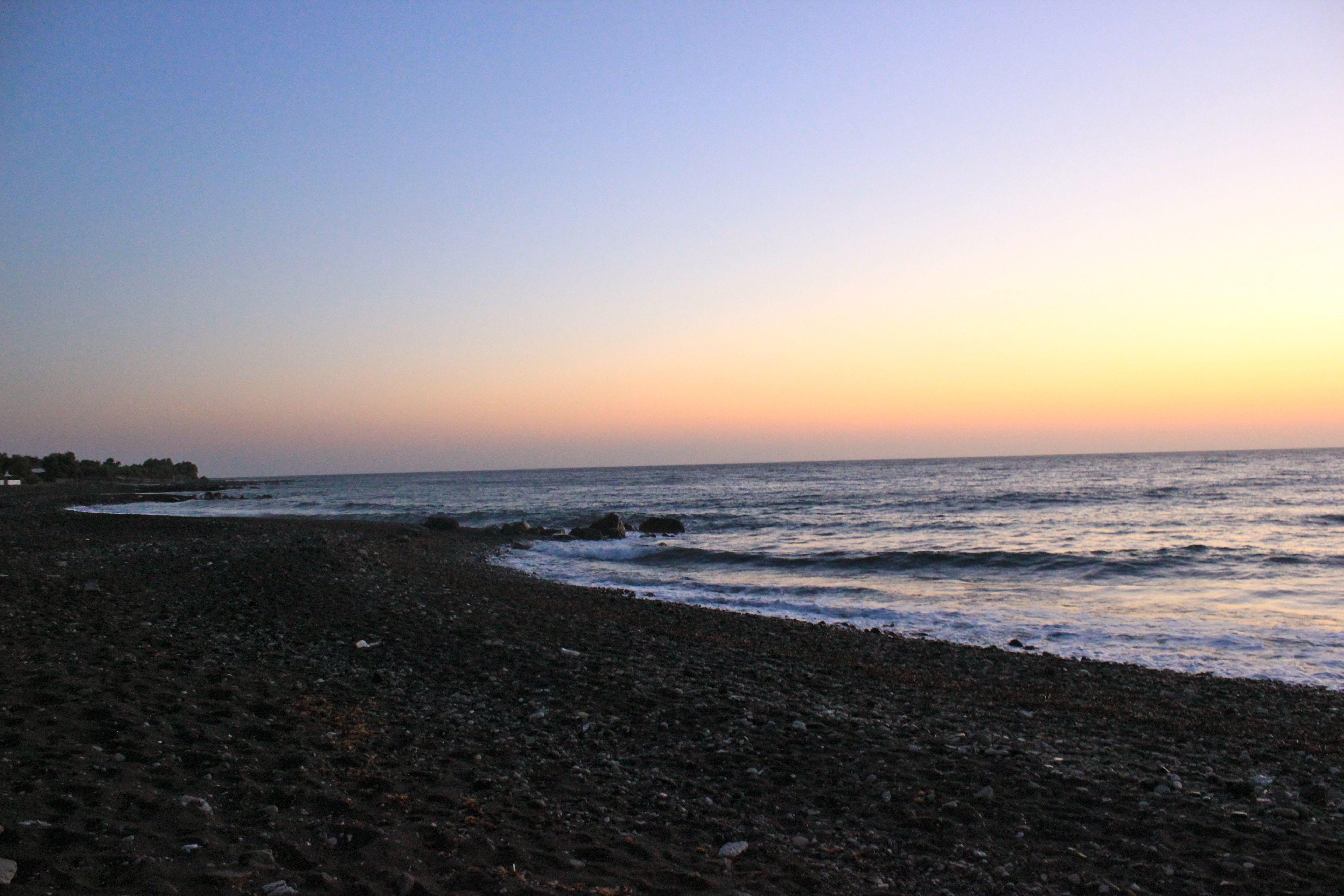 dawn at Kamari Beach, Santorini, Greece