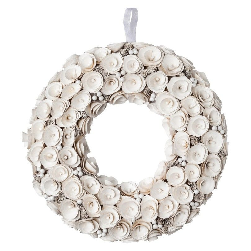 """Smith & Hawken™ Curled Wood Wreath - White (21"""")"""