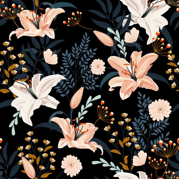 Lily Flower Seamless Pattern