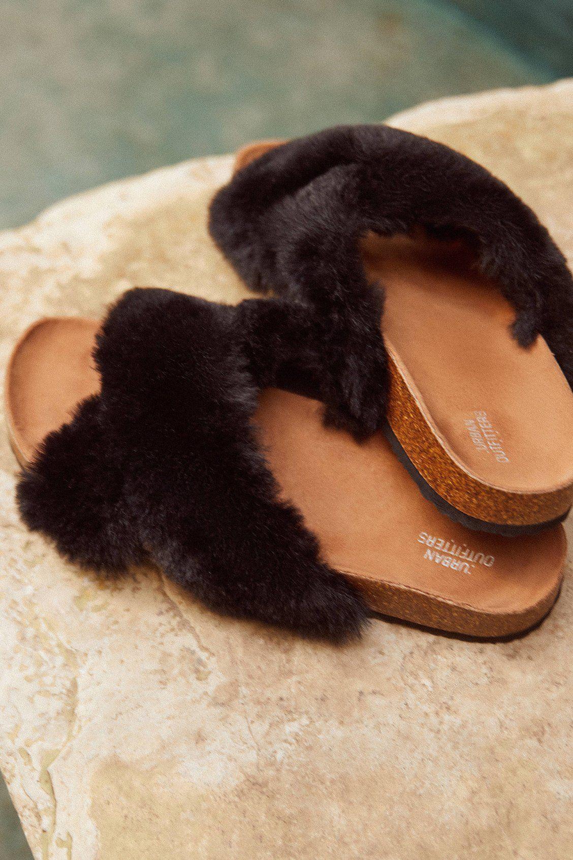 Crossed Faux Fur Slide Faux fur slides, Faux shoes, Best