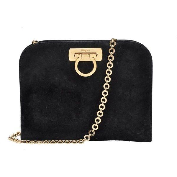 f93a48a67b2a Salvatore Ferragamo Black Suede Evening Shoulder Bag Clutch - Bags - Vintage