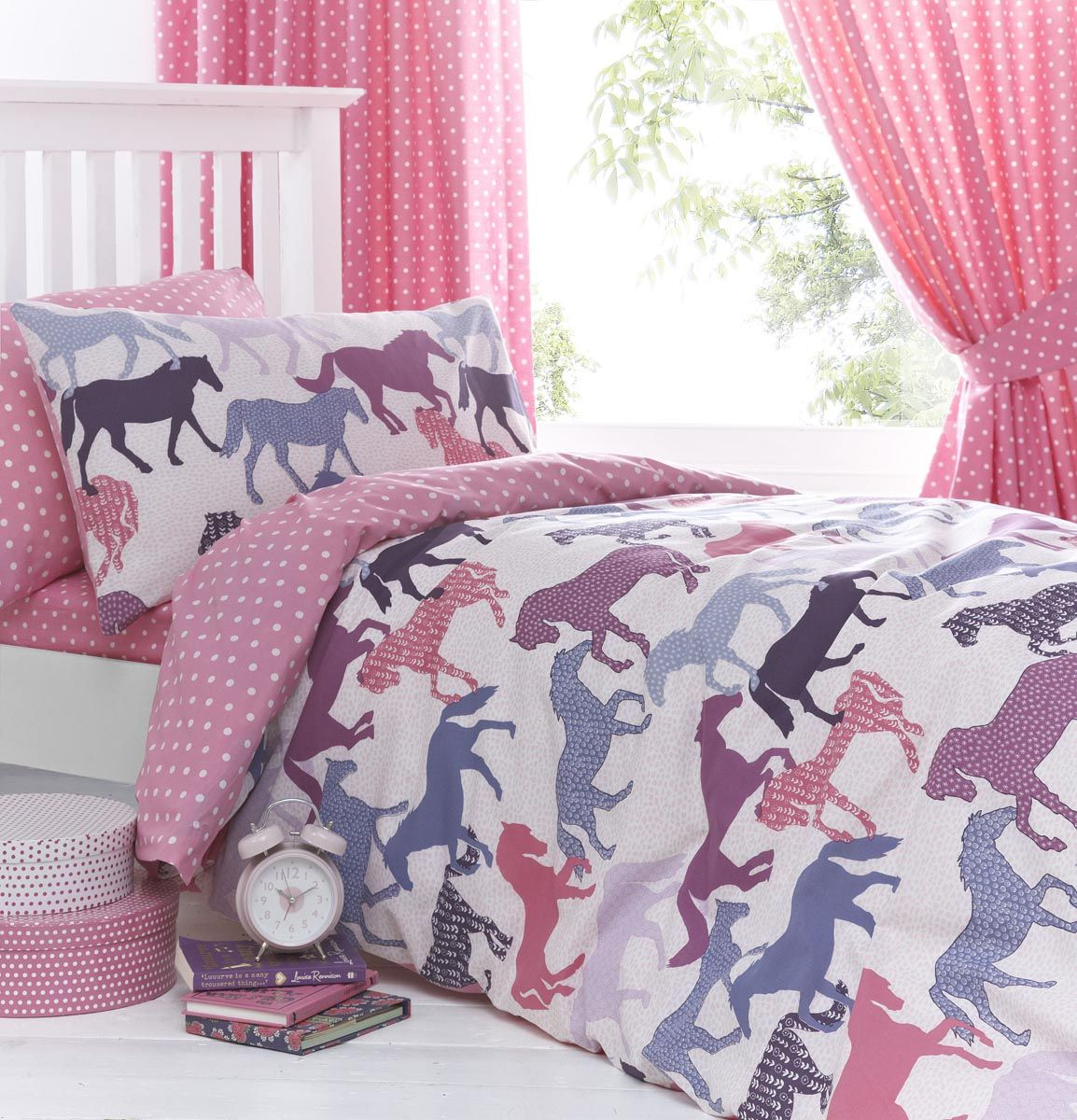 Gallop pink girls horse bedding duvet cover set sheet for Bedroom curtains and bedding