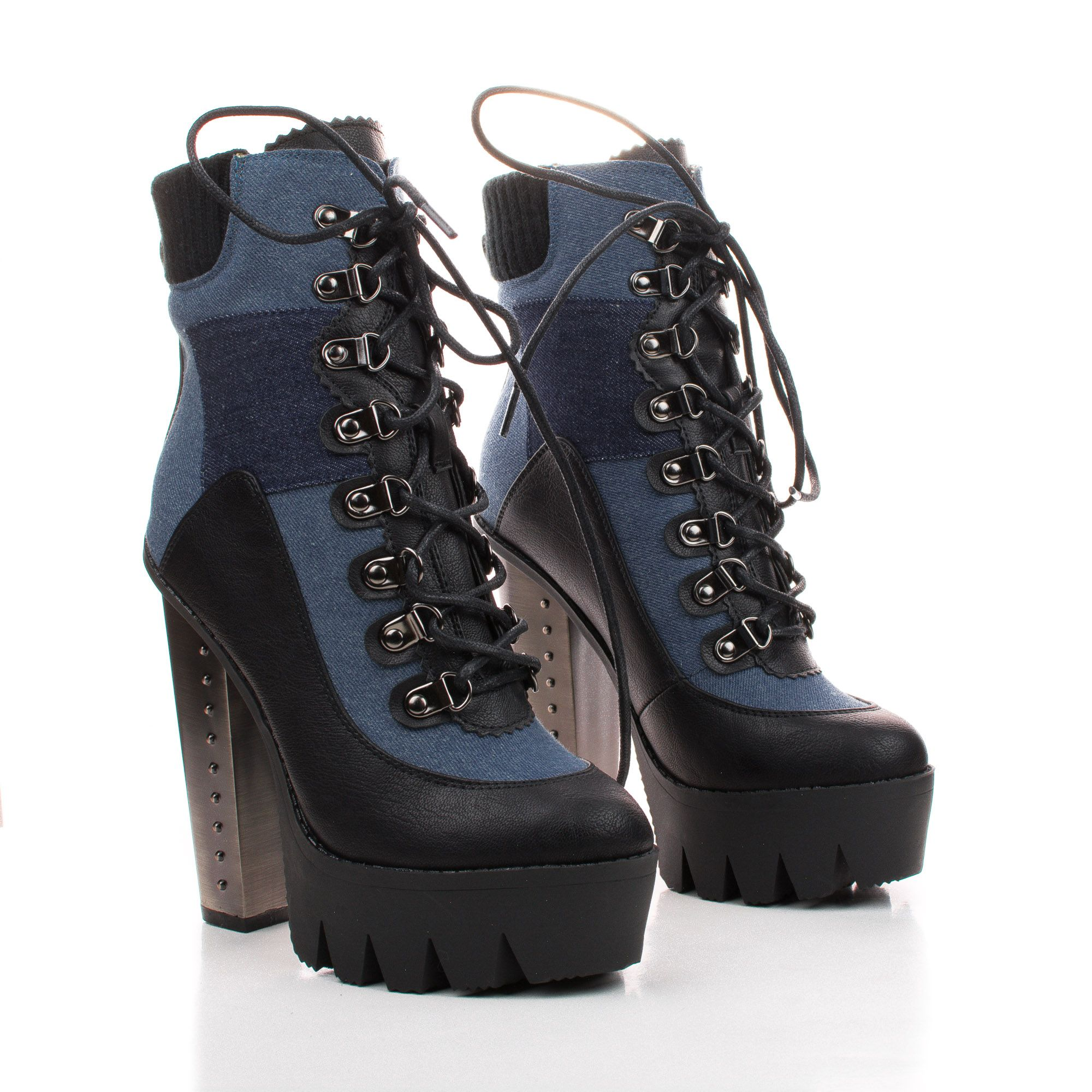Vanita05 Lace Up Lugsole Platform Studded Chunky Heel Boots. #women #shoes for $49.99, enter AquaPin during checkout to receive 15% off.