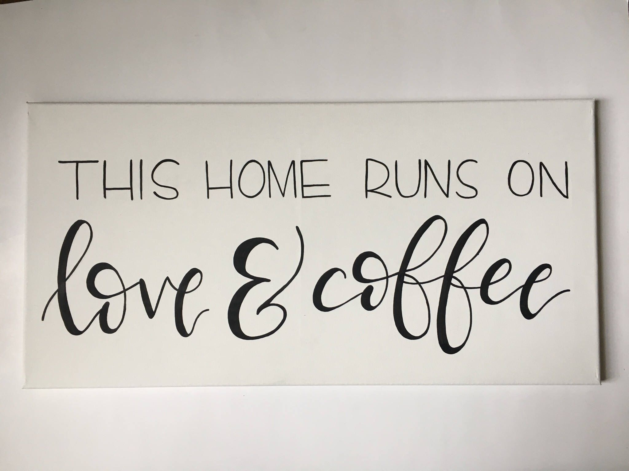 Canvas Love Quotes Hand Painted Canvas  This Home Runs On Love And Coffee Quote