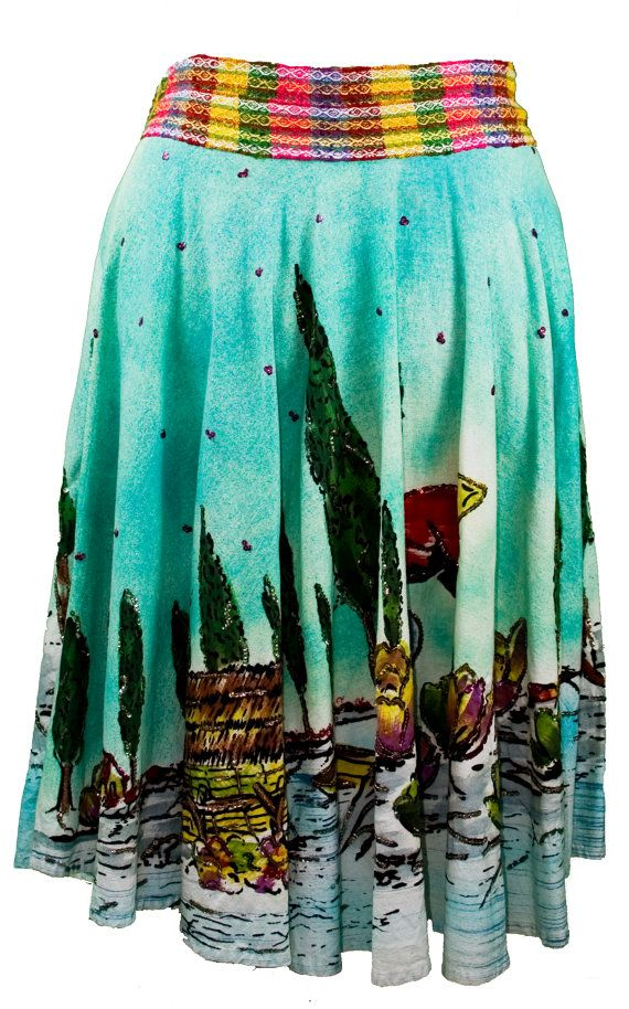 Plus Size 1950s Hand Painted & Sequined Mexican Skirt Extra Large