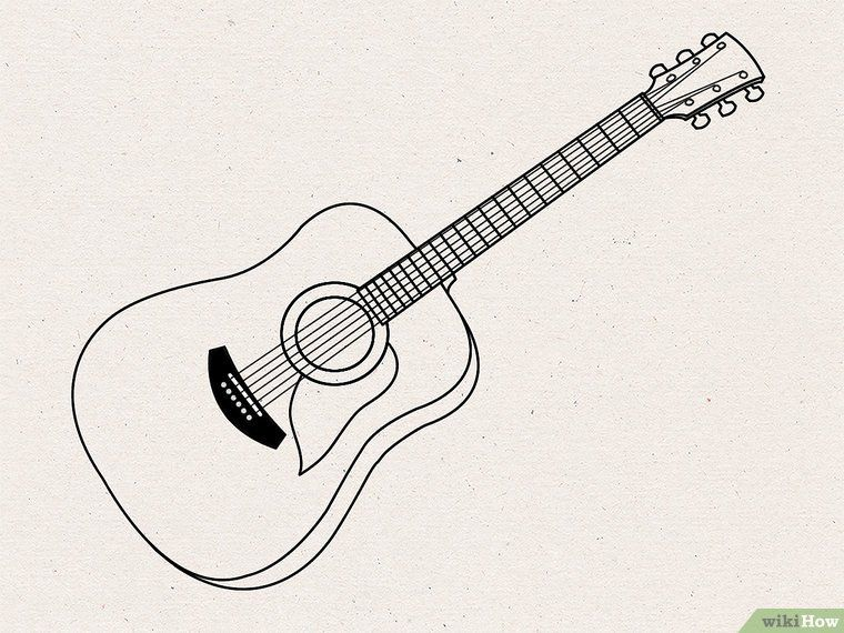 How To Draw An Acoustic Guitar Guitar Drawing Guitar Illustration Guitar Sketch