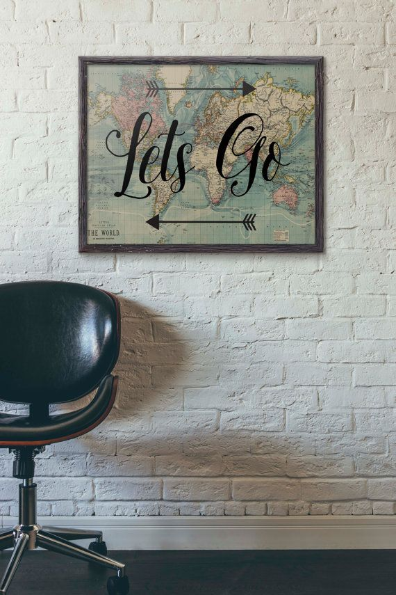 Lets go poster travel poster vintage world map poster travel lets go poster travel poster vintage world map by partyinked gumiabroncs Gallery