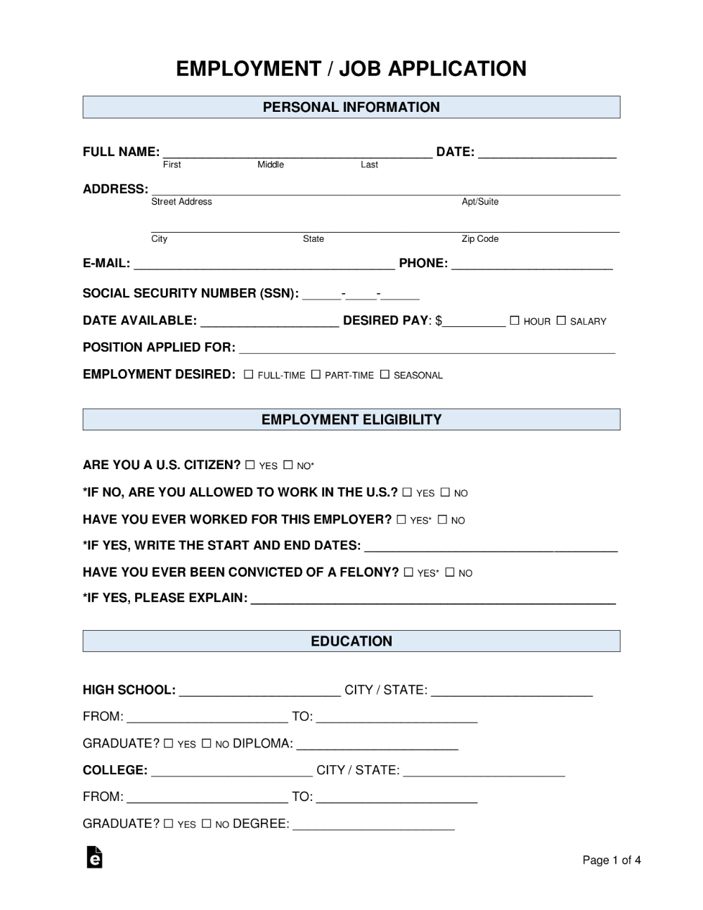 Free Job Application Form Standard Template Word PDF