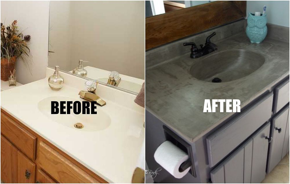 diy concrete vanity for 20 diy home improvement home on replacement countertops for bathroom vanity id=55992