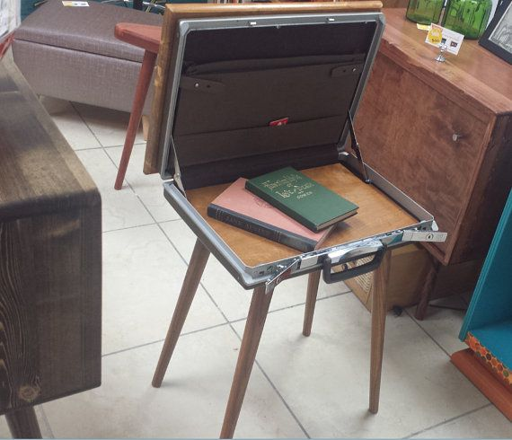 Awesome little side table or nightstand! We took an old Samsonite briefcase  and added a