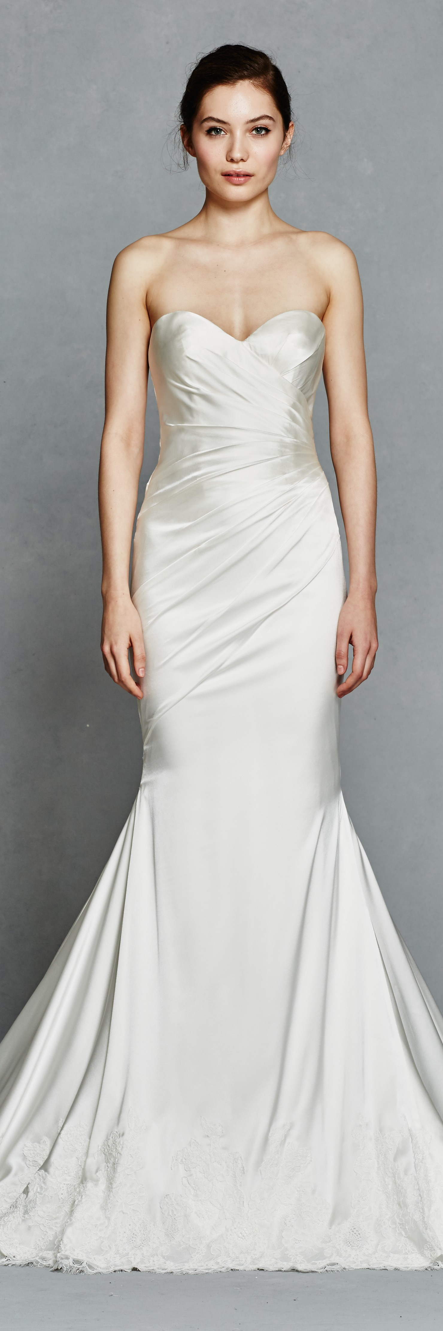 Cinderella inspired wedding dress  Silk Stretch Satin pleated fit to flare strapless wedding gown from