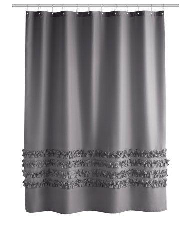 H M Shower Curtain Dark Gray Ruffle Shower Curtains Gray