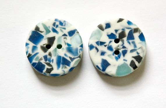 Vintage Blue and Cream B.G.E. Plastic Buttons by yummytreasures, $3.19