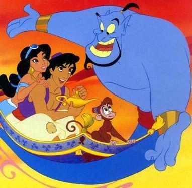 Aladdin Jasmine Genie Abu And Carpet Walt Disney Characters Disney Aladdin Walt Disney Cartoons