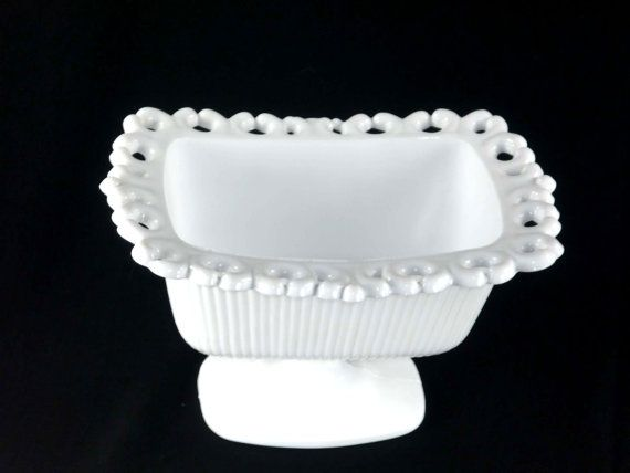 Vintage Indiana Milk Glass Lace Edge Candy Dish by ChromaticWit
