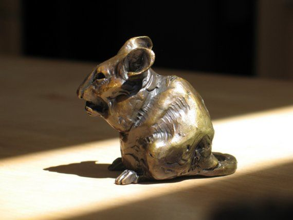 Chubby mouse bronze about 2.5 inches tall by CritterVille on Etsy