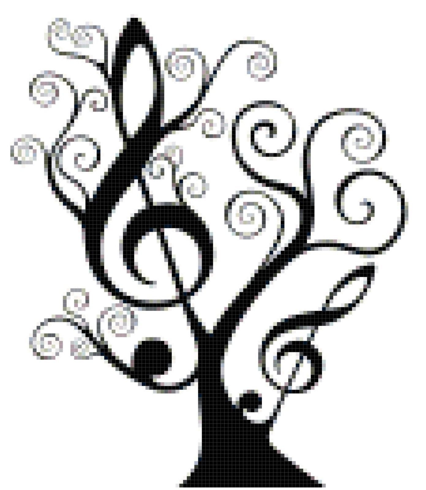 Music Counted Cross Stitch Pattern Design Black and White Treble Clef Tree