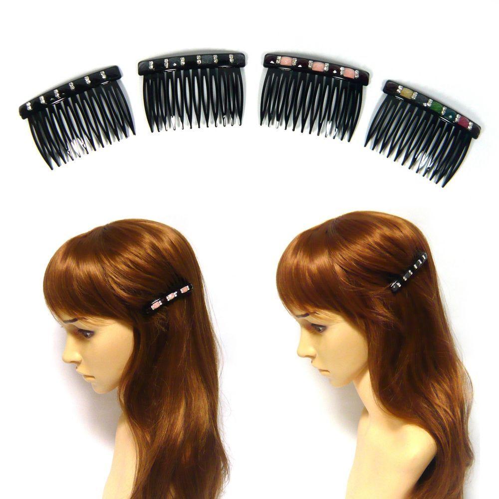 Pair Of Acrylic Crystal Rhinestone Beaded Black Plastic Hair Comb Clip Accessory Hair Comb Clips Crystal Hair Accessories Beaded Hair Clips