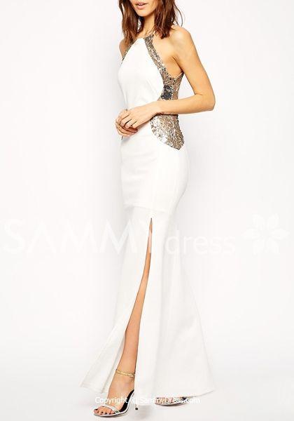 Stylish Round Neck Sleeveless Sequined High Slit Dress For Women