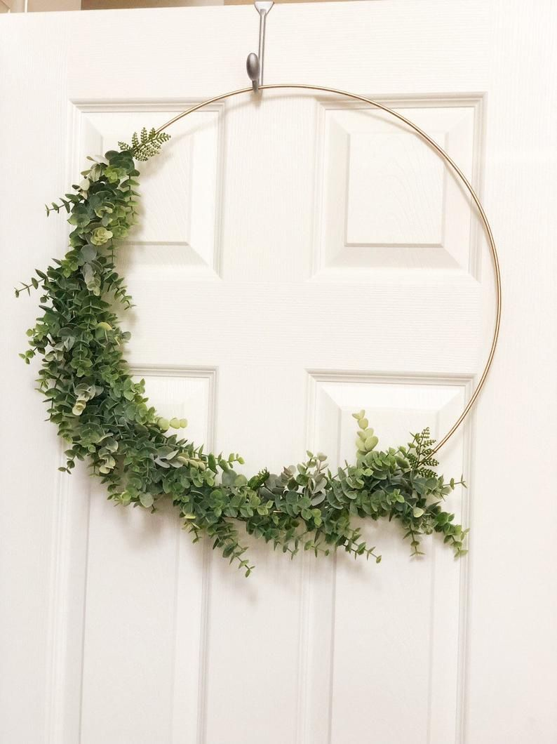 Photo of 19″ Modern Hoop Wreath With Greenery, Large Hoop Wreath, Wedding Hoop Wreath – Faux Eucalyptus Wreath, Modern Style Wreath, Farmhouse Wreath