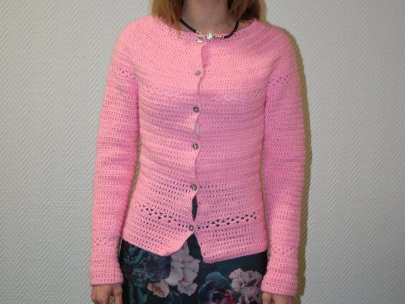 XS Light Pink Crochet Button-up Sweater Woman Teens Extra small ...