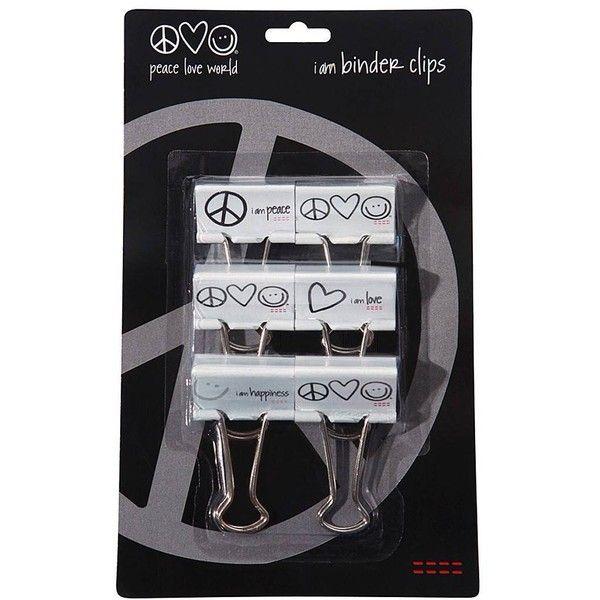 Peace Love World I Am Binder Clips   E D A Liked On Polyvore