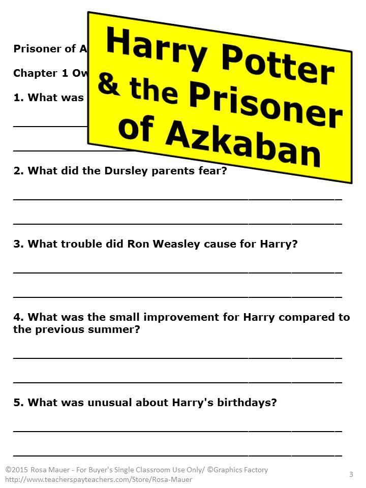Harry Potter and the Prisoner of Azkaban Novel Study   Pinterest