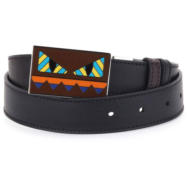 b583ce7440 Fendi Striped Monster-Face Leather Belt ($500) ❤ liked on Polyvore  featuring men's fashion, men's accessories, men's belts, brown, mens brown  belt, mens ...
