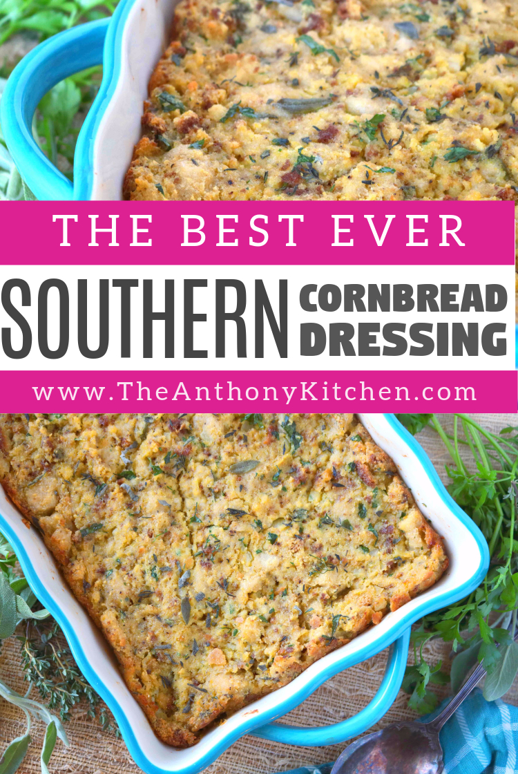 Southern Old-Fashioned Cornbread Dressing - The Anthony Kitchen