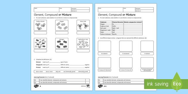 Ks3 Element Compound Or Mixture Homework Activity Sheet