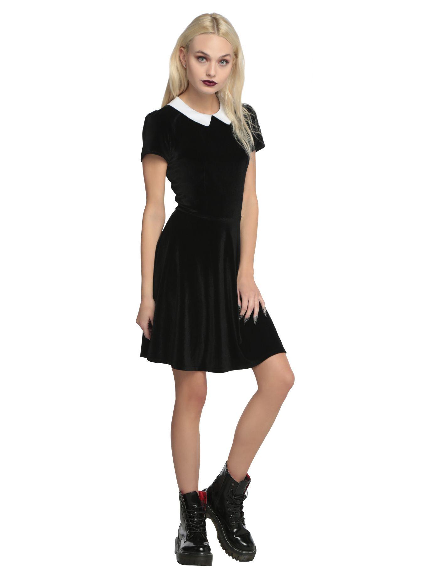 Black Velvet White Collar Dress Fulfilling My Wednesday Addams Dreams